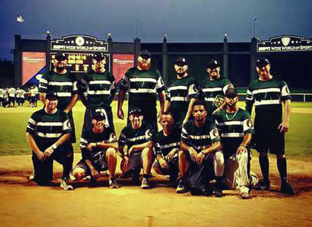 Photo Provided The Goon Squad, made up mostly of players from Piqua, recently finished 17th in the USSSA World slo-pitch softball tournament at ESPN Wide World of Sports in Orlando, Florida. In front (left to right) are Willie Monbeck, David Hughes, Taylor Wellbaum, Steve Zweib, Trevan Moton and Derek Goins. In back are Kiel Feeser, Kyle Fain, Ryan Kiefer, Jason Hutson, Phil Mowell and TK Marsh. Not pictured are Gabriel Swallow, Jeremy Shellabarger, Sean Maroney and Travis Owen.