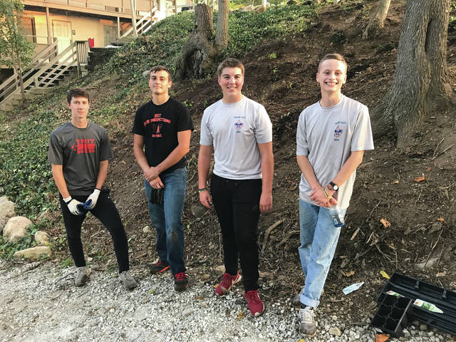 Provided photo In completing his Eagle Scout project at Ludlow Falls Camp, Will Knostman had plenty of help from his friends and fellow scouts. From left to right: Caleb Twiss, Mark Summers, Will Knostman, Sam Smith.