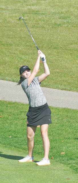 Rob Kiser/Call Photo Versailles' Lauren Durham watches a shot into the third green Wednesday at Pipestone Golf Course.