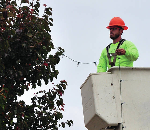 Mike Ullery | Daily Call City of Piqua employee Ben Gover strings Christmas lights on a treel along Wayne Street on Thursday as the city gets ready for the Christmas season.