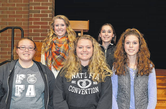 Photo provided Members of the Miami East-MVCTC FFA Chapter's District Food Science and Technology Career Development Event team was , from left, Emily Thimmes, Liza Bair, Kylie Blair, Jessica Gillum, and Natalie Bair.