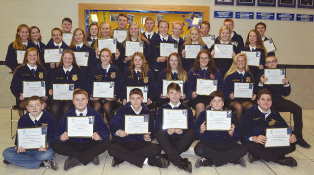 Provided photo The Miami East-MVCTC FFA awarded 32 new members their Greenhand FFA Degree recently.