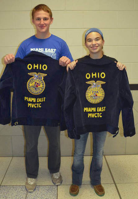 Provided photo Selected from Miami East-MVCTC FFA for the Blue Jacket Program were Libby Carpenter and Jarrett Winner. Libby and Jarrett are first year FFA members and freshmen at Miami East High School.