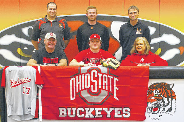 Kyle Shaner/Aim Media Photo Versailles' pitching ace Cole Niekamp had a ceremony to celebrate his signing with Ohio State to play baseball Tuesday.