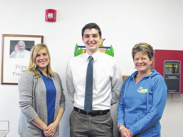Sam Wildow | Daily Call New Piqua Catholic Principal Bradley Zimmerman (middle) with office staff, including Business Manager Jessica Rank (left) and Administrative Assistant Tweetie Duer (right).