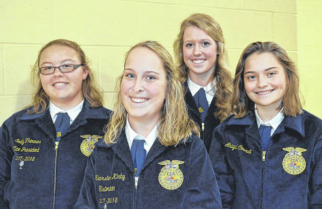 Provided photo FFA members competing in the District FFA Job Interview Career Development Event were left to right, Emily Thimmes, Kearsten Kirby, Liza Bair, and Abigail Covault.