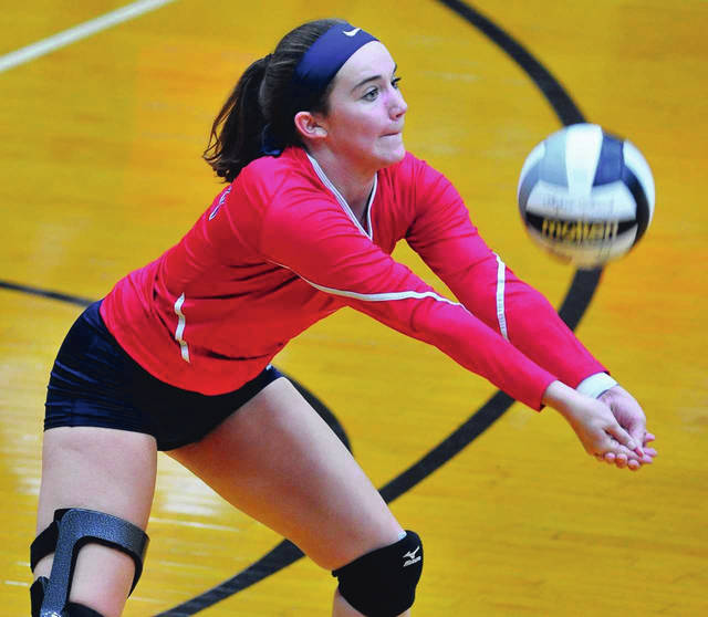 Mike Ullery/Call File Photo Piqua High School senior Kelsey Magoteaux is the new career digs record holder at Piqua.