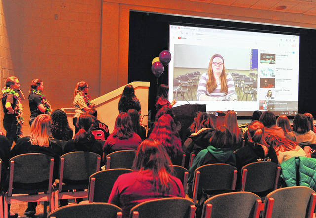 Mike Ullery | Daily Call Students participating in We Are IT at Edison State Community College watch a Power Point presentation in the Robinson Auditorium on Friday.