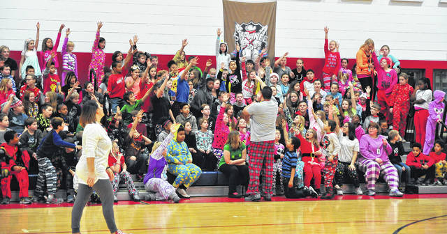"Mike Ullery | Daily Call Piqua Central Intermediate students in the Shawnee ""tribe"" volunteer to be the next participants in the Reindeer Games on Friday."