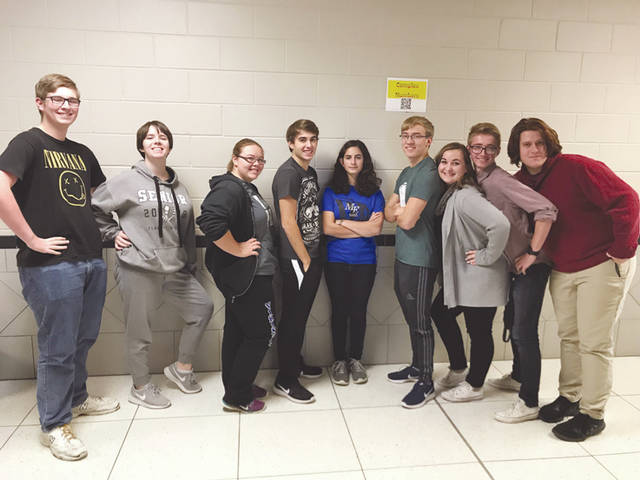Provided photo The Miami East High School Academic Team includes, left to right: Alex Callahan, CeCe Moore, Emily Thimmes, Jackson Tucker, Marie Cook, Seth Teeters, Sydni Scott, AJ Christian, Keagan Mahan. Not pictured: Kaytee Macy.