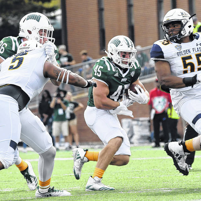 Photo Courtesy of Ben Robinson | GoBuccs.com Ohio University running back A.J. Ouellette (45), a Covington High School graduate, looks for room to run against Kent State University earlier this season.