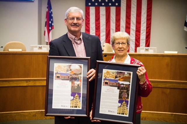 Courtesy of Brittany Van Horn Outgoing city commissioners Joe Wilson and Judy Terry were honored during Tuesday's Piqua City Commission meeting with framed letters of thanks dictating their service to the city.