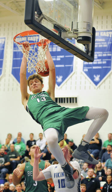 Josh Brown/Troy Daily News Bethel's Alex Van Haaren attempts a dunk Friday against Miami East.