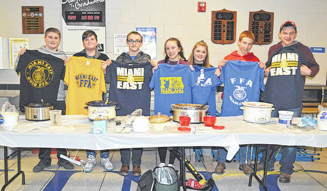 "Provided photo <span style=""color: black; font-family: Calibri; font-size: medium;"">Winners of the Miami East-MVCTC FFA Chili Cook-Off were, left to right, Seth Wells, Justin Hawkins, Tyler Laycox, Savannah Holzen, Katilyn Rohrbach, Michael Bair, and Ethin Bendickson.</span>"