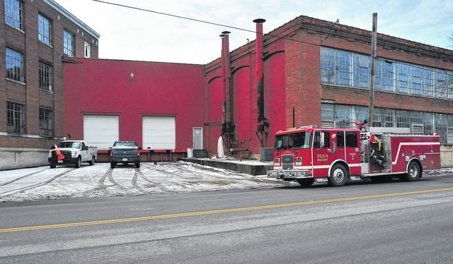 Mike Ullery | Daily Call Firefighters from the Piqua Fire Department and Piqua Water Department officials were at the former Orr Felt Company on South Main Street dealing with broken water pipes and sprinkler heads on Tuesday afternoon.