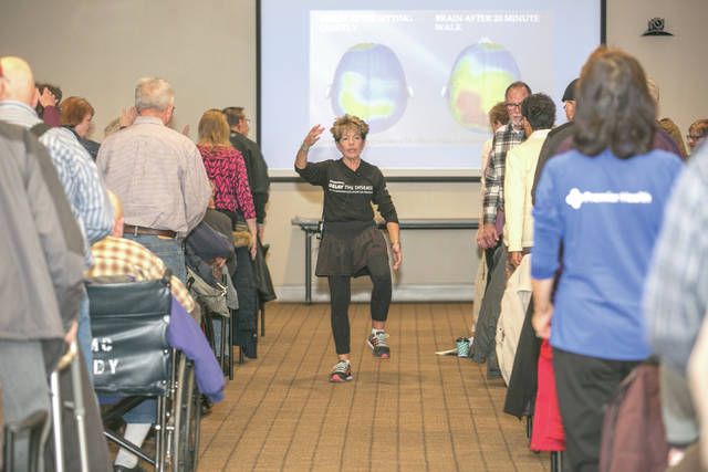 Provided photo Jackie Russell, co-founder of the Delay the Disease program for Parkinson's patients, leads participants in an exercise on Jan. 20 at Upper Valley Medical Center.