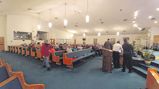 Provided photo Members of the local faith community gather to learn about active shooter training, vulnerability assessments, and threat assessments through the Piqua Police Department and Protect Piqua at Transformed Life Church Monday evening.