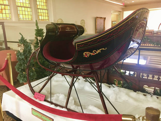 Provided photo  This restored R.P. Spiker sleigh will be displayed on the second floor of the Piqua Public Library through Saturday. The sleigh is on loan from Larry and Barbara Coffing of Piqua.