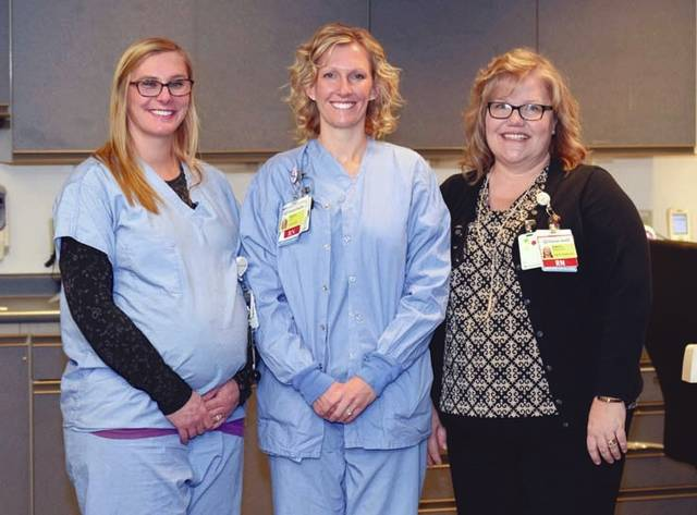 Provided photo From left, Dustina Schroder, Jenna Kettering and Jenny Dietz all recently achieved professional certification in neonatal touch and massage.