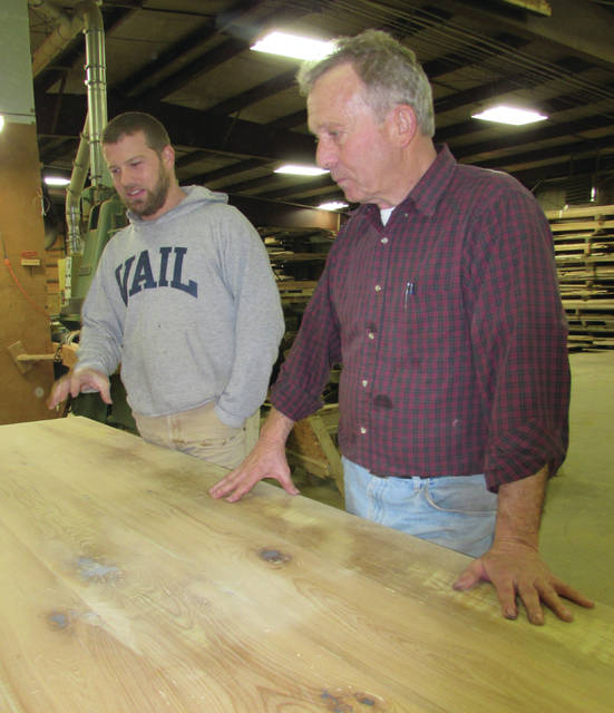 Cody Long, left, and Rod Long, show off one of their custom products, a kitchen island, made of repurposed wood and eco-friendly finishes. Father-son business partners Rod and Cody Long share how their business, Tuscarora Wood Midwest, is thriving with the emphasis of reclaimed and salvaged wood products.