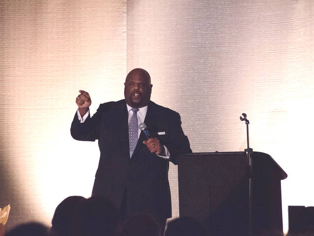 Provided photo Award-winning journalist and former Texas A&M professor Dr. Rick Rigsby was the keynote speaker at the Lehman Catholic Foundation Dinner on Jan. 27.
