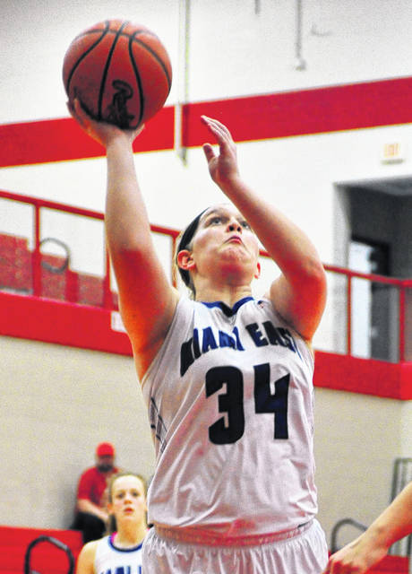 Mike Ullery/Daily Call Miami East's Mikayla Schaffner hits a layup Wednesday against Northeastern.