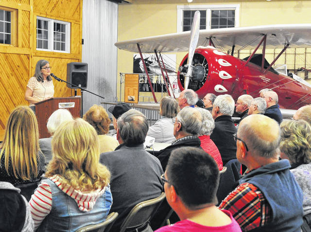 Mike Ullery | Daily Call Amanda Wright-Lane, great grand niece of Wilbur and Orville Wright, speaks at WACO Museum and Aviation Learning Center on Thursday evening as featured guest for the February WACO Lecture Series.