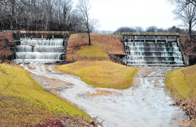 Mike Ullery | Daily Call The spillways at Swift Run Lake in Piqua are working overtime as snow/ice melting combined with recent rains have water rising around the area. More rain is forecast over the next week.