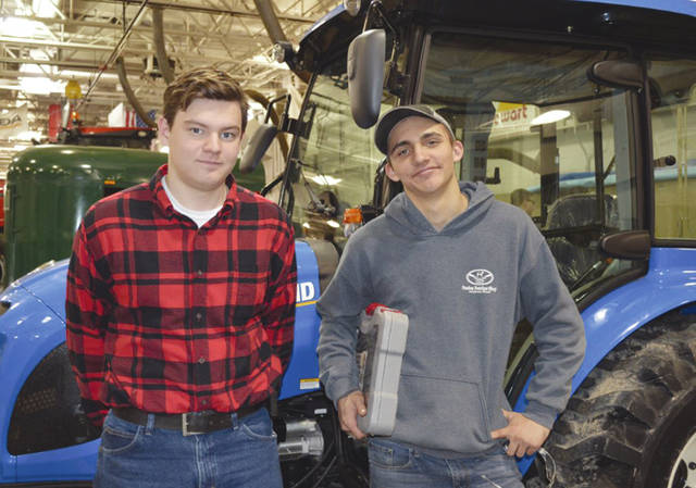 Provided photo From left, Ethin Bendickson and Luke Gilliland participated in the District FFA Agricutlural Power Diagnostics Career Development Event.