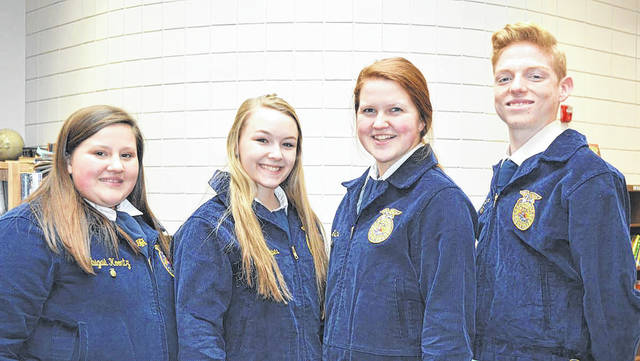 Provided photo Members of the Miami East-MVCTC FFA Agricultural Sales Career Development Event team were, left to right: Abbey Koontz, Kailtyn Hawes, Maci Krites, and Lane Mergler. The team placed third in the district.