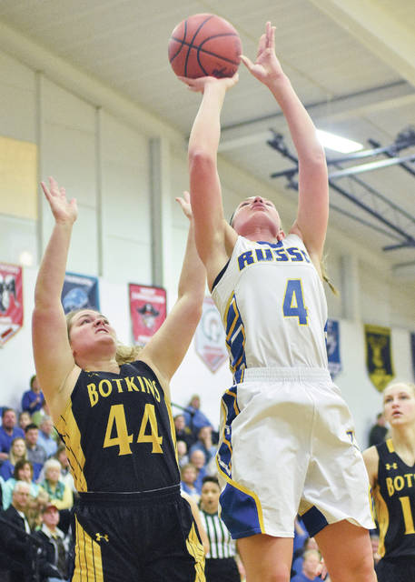 Luke Gronneberg | Aim Media Photo Russia's Laurissa Poling shoots with pressure from Botkins' Grace Homan Saturday at Sidney High School.