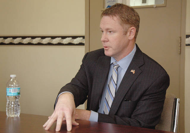 Cody Willoughby | AIM Media Midwest U.S. Rep. Warren Davidson (R-8th) addresses various current issues during a roundtable discussion with staff writers for <em>Troy Daily News</em> and <em>Piqua Daily Call</em> on Thursday, Jan. 26.