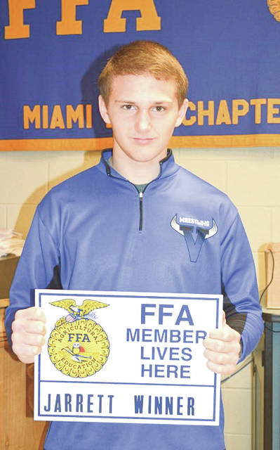 Provided photo Jarrett Winner of Piqua, a freshman at Miami East High School, is the February Miami East-MVCTC FFA Member of the Month.