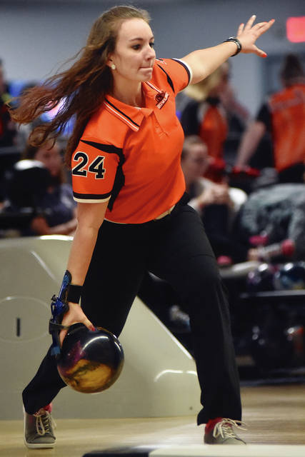 Dale Barger/Aim Media Photo Versailles junior Morgan Heitkamp set a new school record with games of 242 and 251 for a 493 series last week against St. Marys.