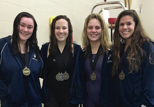 Photo Provided The Piqua 200 medley relay team of Gracie Clark, Julia Anderson, Meredith Karn and Colleen Cox qualified for district. They are also alternates in the 400 freestyle relay, while Karn qualified in both the 200 freestyle and 100 butterfly and Carrie Meckstroth advanced in diving.
