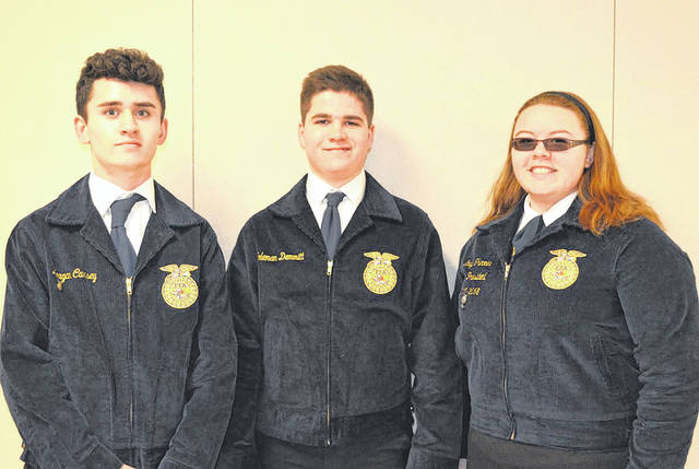 Provided photo Representing the Miami East-MVCTC FFA Chapter at the county Career Development Event were, left to right, Keagan Carsey, Coleman Demmitt, and Emily Thimmes.