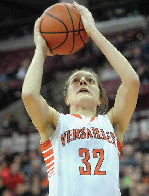 Mike Ullery/Daily Call Versailles' Danielle Winner goes up for two points Saturday agains Africentric at the Schottenstein Center.