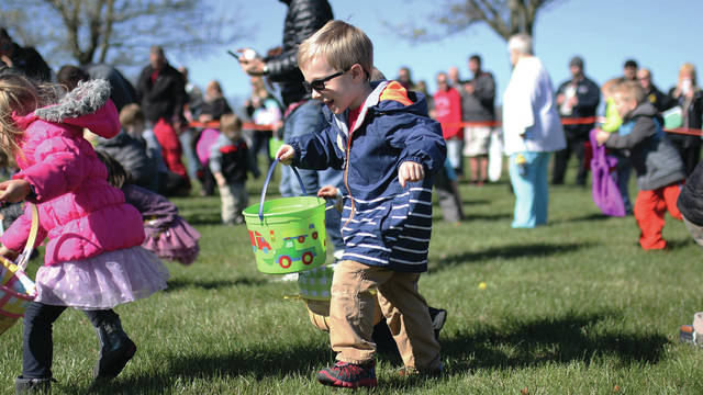 Provided photo Families with children walking up to age 12 are invited to the largest Easter egg hunt in Miami County with more than 50,000 filled eggs, Saturday, March 24 at 9:30 a.m. on the front lawn of Ginghamsburg Church, 6759 S County Rd 25A, Tipp City.