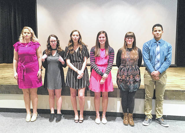 Provided photo  The winners of the Piqua Rotary Club's Four-Way Speech Contest include, left to right, Emily Powell, Gabbie Knouff, Kiera Burns, Alanna O'Leary, Molly Smith and Cameron Brown.