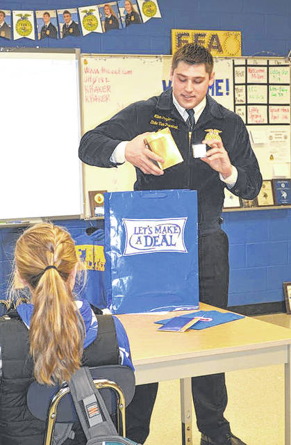 "Provided photo Milan Pozderac, Ohio FFA state vice president at large, helped Agricultural, Food, and Natural Resources students at Miami East High School learn about the importance of taking risks in life while playing a game of ""Let's Make A Deal."""