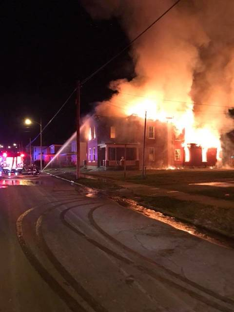 Courtesy the Piqua Fire Department  The Piqua Fire Department responded to a house fire on the 200 block of East Main Street on Saturday morning at 2:50 a.m. where a vacant house was completely engulfed in flames.