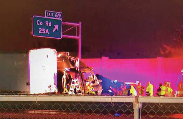 Photo courtesy of WDTN (Bear Everett) A fatal crash involving a semi on I-75 near Tipp City occurred early Thursday morning.