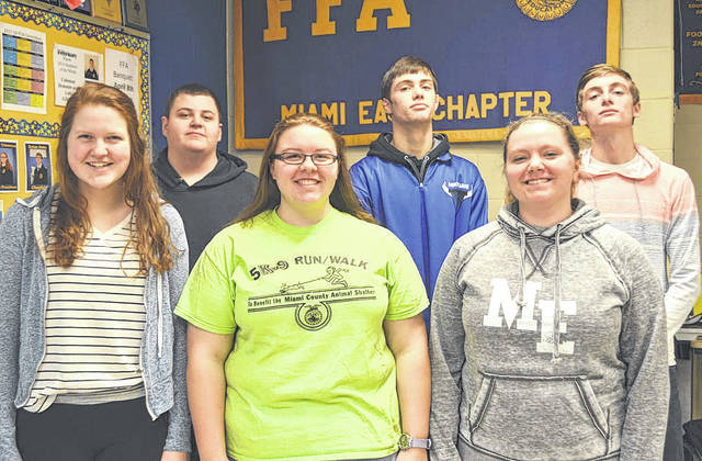 Provided photo FFA Degree recipients are (front row, left to right) Maci Krites, Emily Thimmes, Kylie Blair (back row, left to right) Zach Kronenberger, Alex Isbrandt, Dylan Hahn.