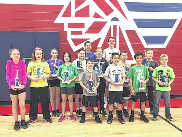 Provided photo  First, second and third place winners of the annual Tri Star Basketball competition show off their trophies on March 17 at Piqua Central Intermediate School, where the event was held.