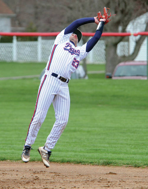 Piqua second baseman Spencer Lavey hauls in an infield fly behind first base Tuesday night at Hardman Field.