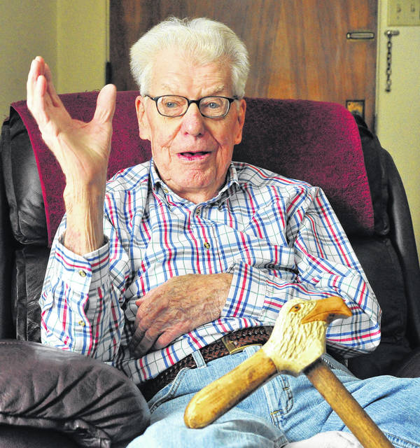 "Mike Ullery | Daily Call Robert ""Red"" Bomhard of Piqua describes some of his experiences during World War II. Bomhard served as a company clerk in Gen. George S. Patton's Third Army."