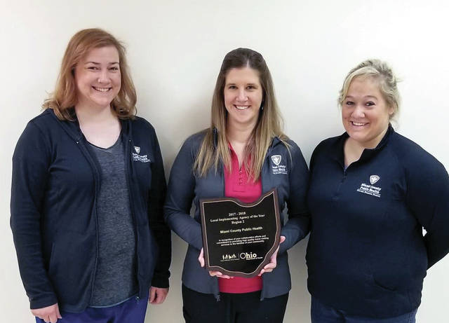 Provided photo The Help Me Grow team of Michelle Cox, Christina Garlinger and Katherine Gray were recognized by the Ohio Department of Health.