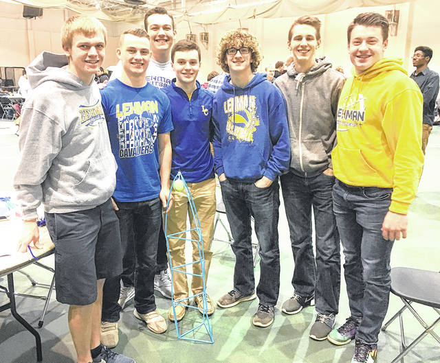Provided photo Team A from Lehman Catholic High School recently took part in the Tests of Engineering Aptitude, Mathematics and Science (TEAMS) competition, excelling in several categories to advance to nationals. The team members are, left to right, Jake Emrick, Brandon Barhorst, Seth Sargent, Tyler Lachey, Braiden Sherman, Preston Rodgers and Owen Smith.