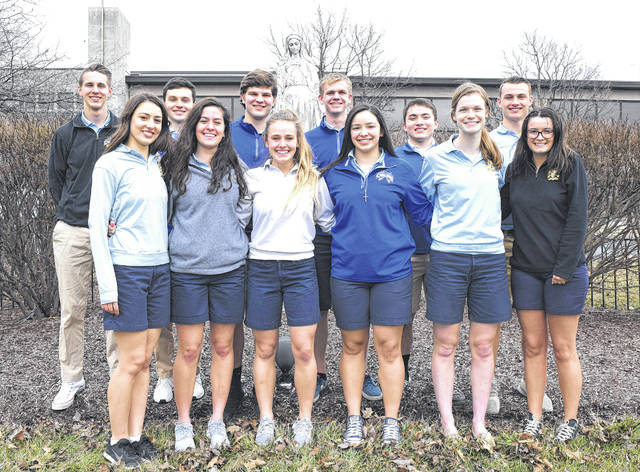Provided photo Lehman Catholic High School's senior king and queen candidates are: front row, left to right, Clare Schmiesing, Alanna O'Leary, Brogan McIver, Maddy McFarland, Abby Jones and Maria Adams; back row, left to right, Preston Rodgers, Tyler Lachey, Collin Haller, Jake Emrick, Alvaro Barrera and Brandon Barhorst
