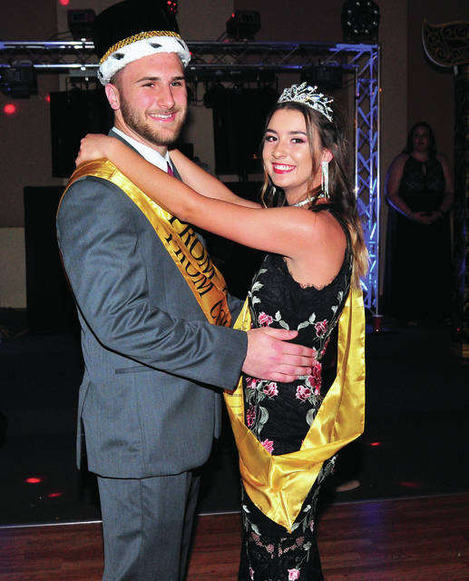Seniors Ben Schmiesing and Lily Stewart were crowned king and queen of the 2018_Piqua High School Prom at A Learning Place on Saturday.